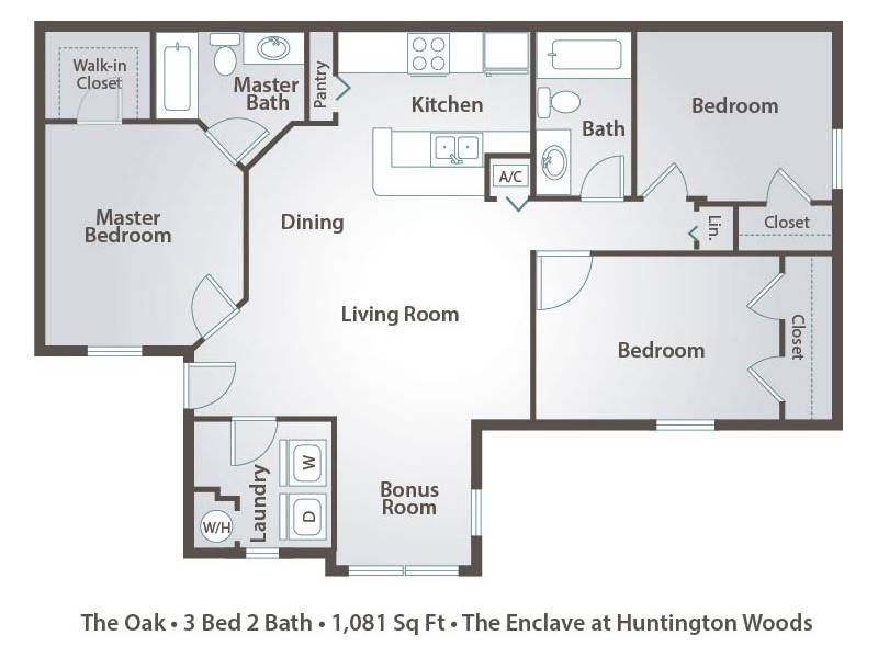 The Oak - 3 Bedroom / 2 Bathroom Image