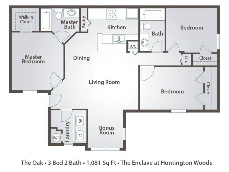 The Oak - 3 Bedroom / 2 Bathroom Image