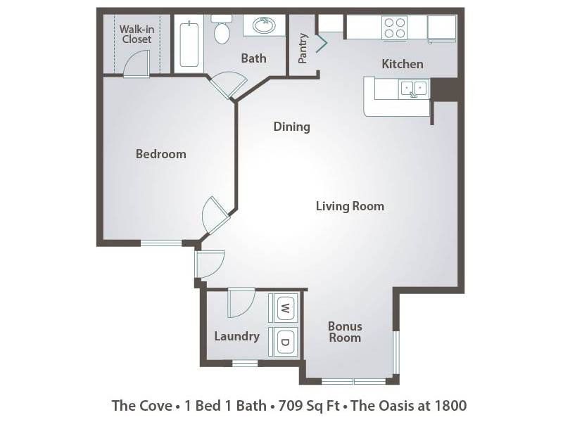 Apartment floor plans pricing the oasis at 1800 in for Laundry bathroom floor plans