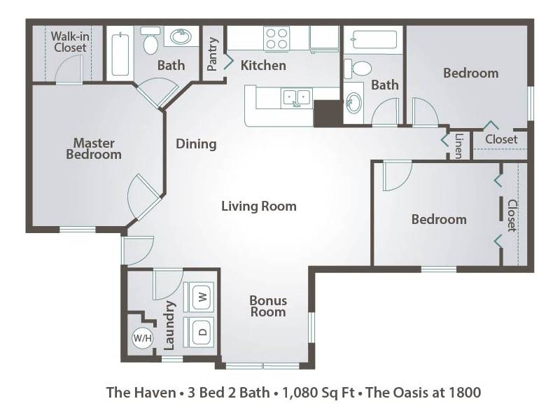 1 Bedroom Apartment Floor Plans & Pricing – The Oasis at