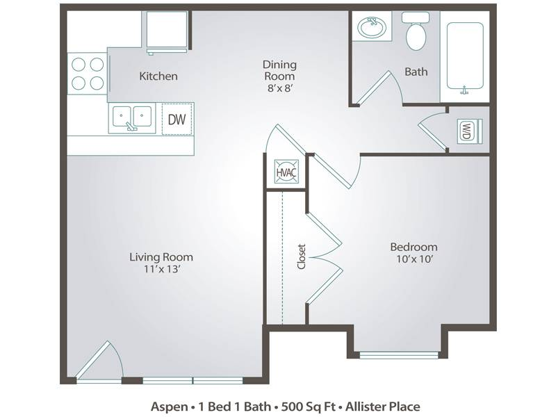 Aspen - 1 Bedroom / 1 Bathroom Image