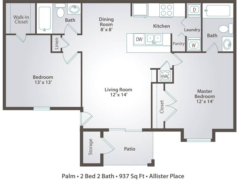 2 Bedroom Apartment Floor Plans Pricing Allister Place Tampa Fl