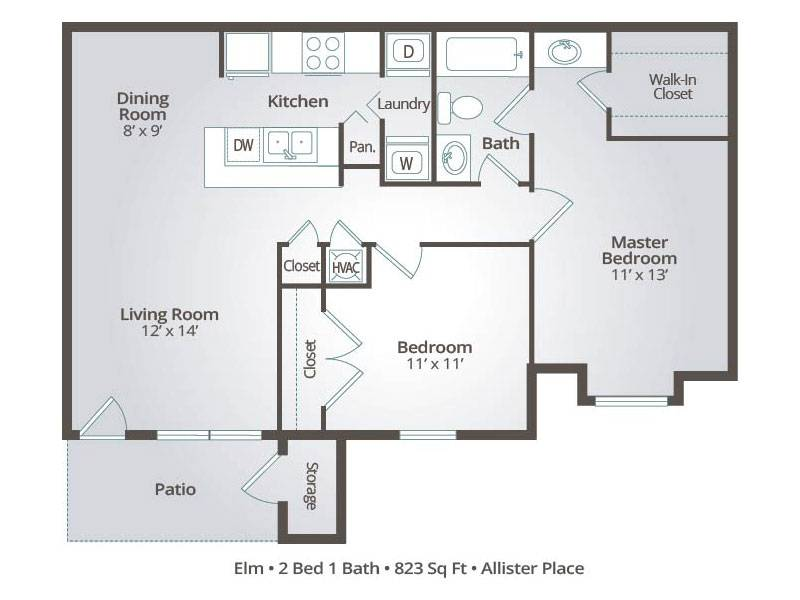Elm - 2 Bedroom / 1 Bathroom Image