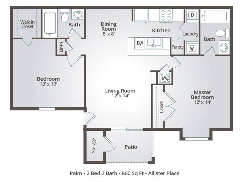 Palm - 2 Bedroom / 2 Bathroom Image