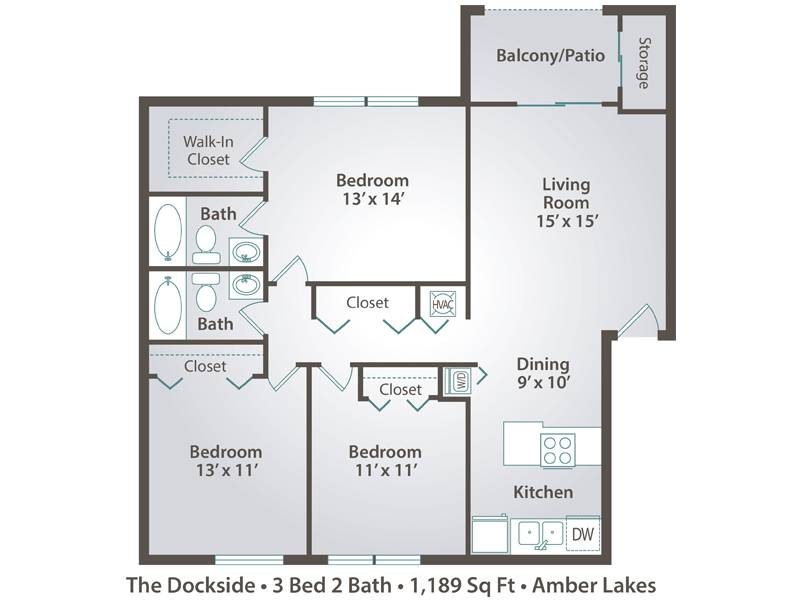 The Dockside - 3 Bedroom / 2 Bathroom Image