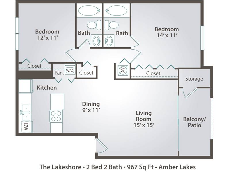 The Lakeshore - 2 Bedroom / 2 Bathroom Image