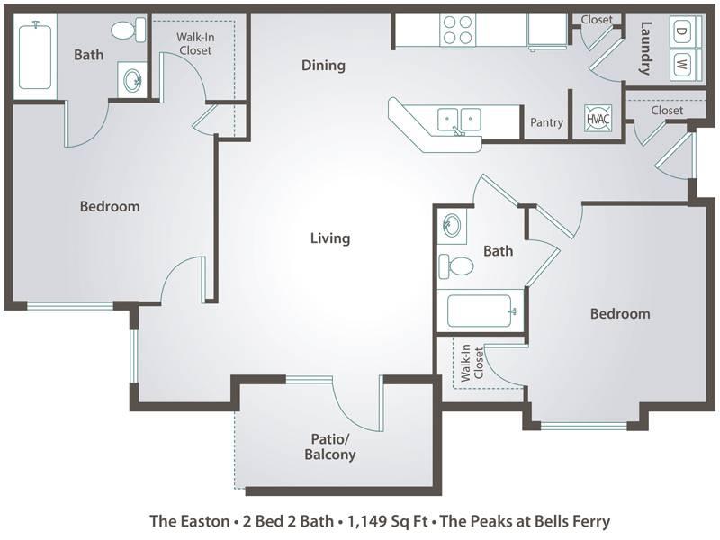 The Easton - 2 Bedroom / 2 Bathroom Image