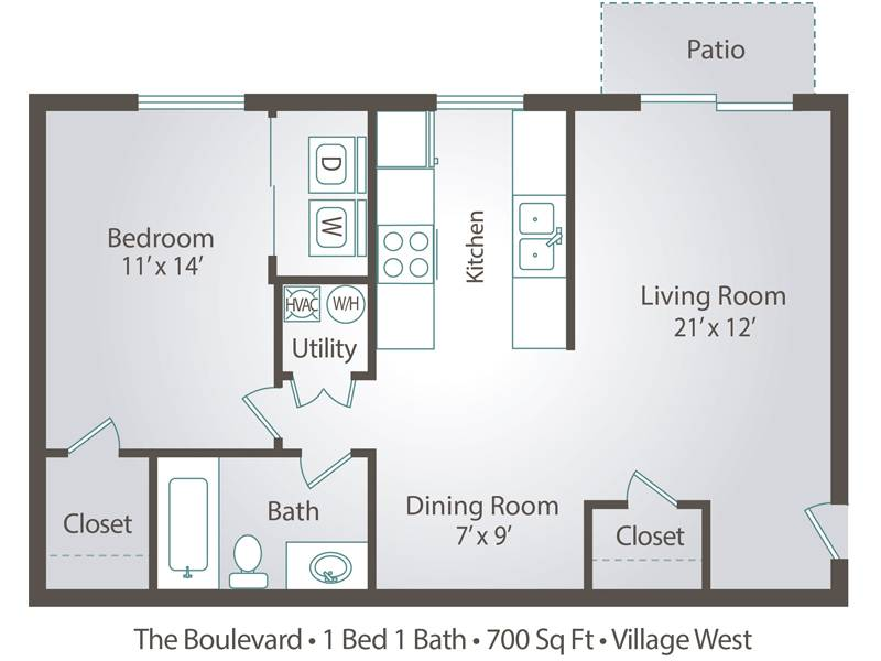 The Boulevard - 1 Bedroom / 1 Bathroom Image
