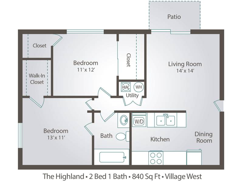 The Highland - 2 Bedroom / 1 Bathroom Image