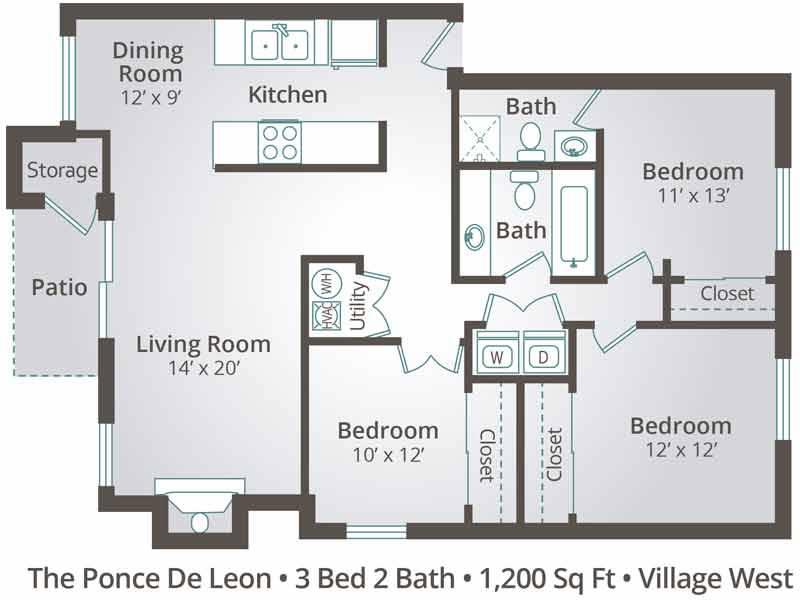 The Ponce De Leon - 3 Bedroom / 2 Bathroom Image