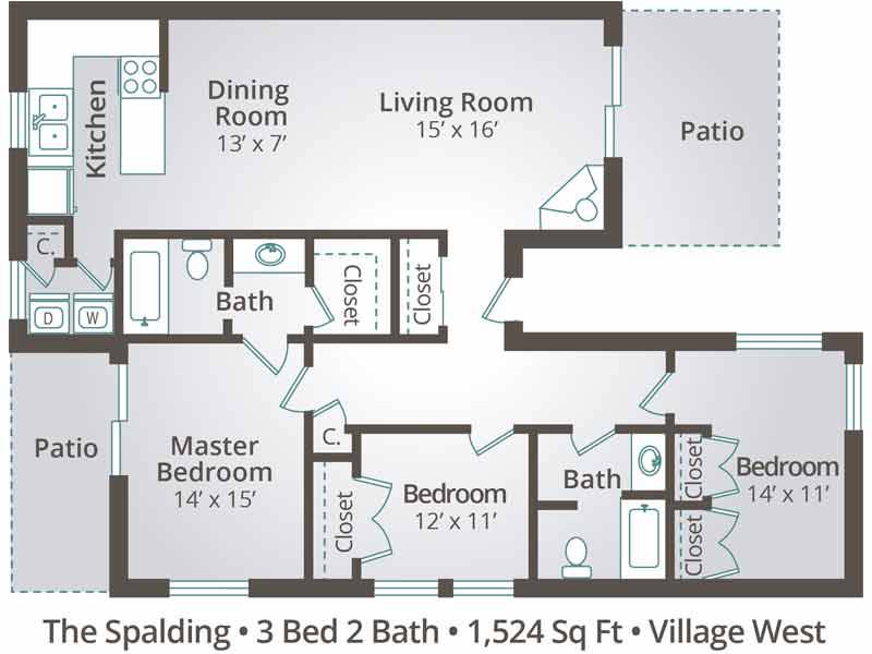 The Spalding - 3 Bedroom / 2 Bathroom Image
