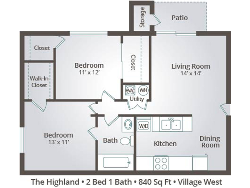 The Highland - 2 Bedroom / 1 Bathroom Image