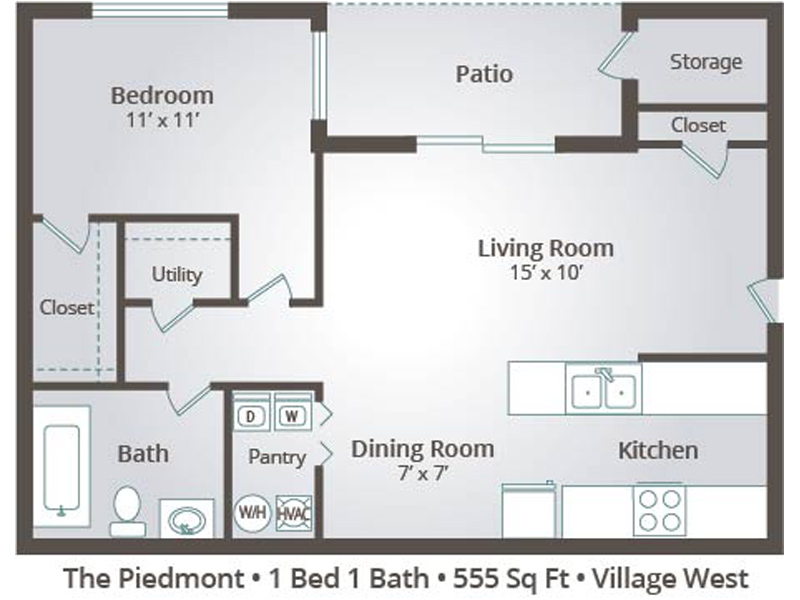 The Piedmont - 1 Bedroom / 1 Bathroom Image