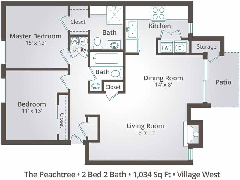 The Peachtree - 2 Bedroom / 2 Bathroom Image