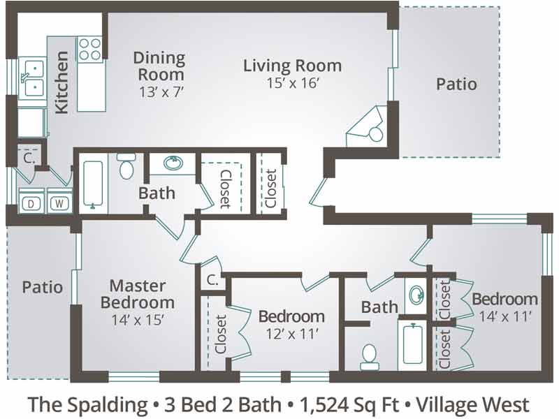 The Spalding - 3 Bedroom / 2 Bathroom Image