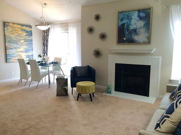 Living Room with Fireplace - Village West at Peachtree Corners - Norcross, GA