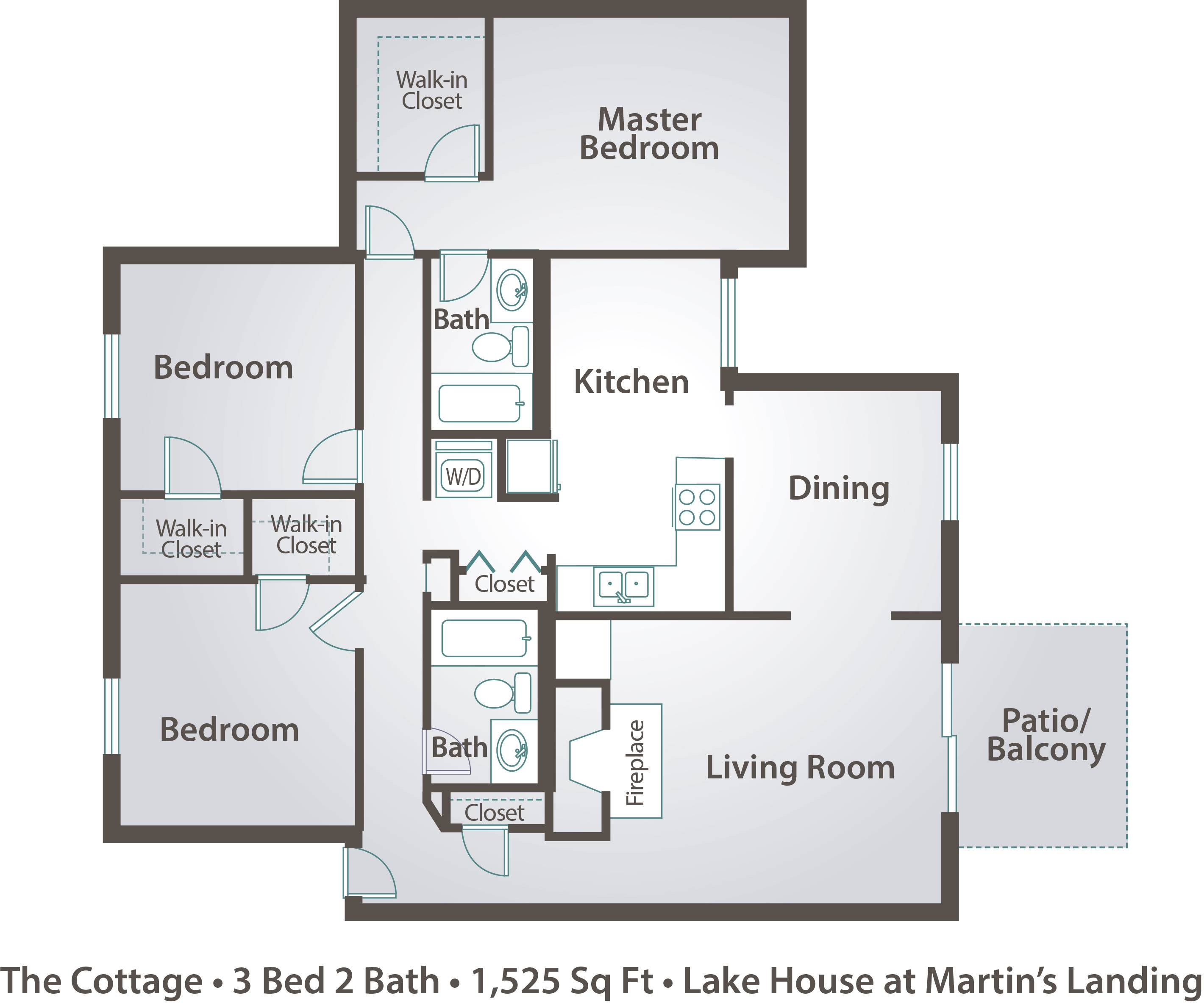 Apartment floor plans pricing the lake house at martin for Three bedroom apartment layout