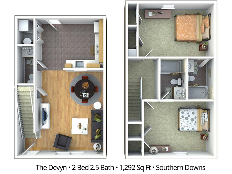 2 Bedroom Apartment Floor Plans & Pricing – Southern Downs ...