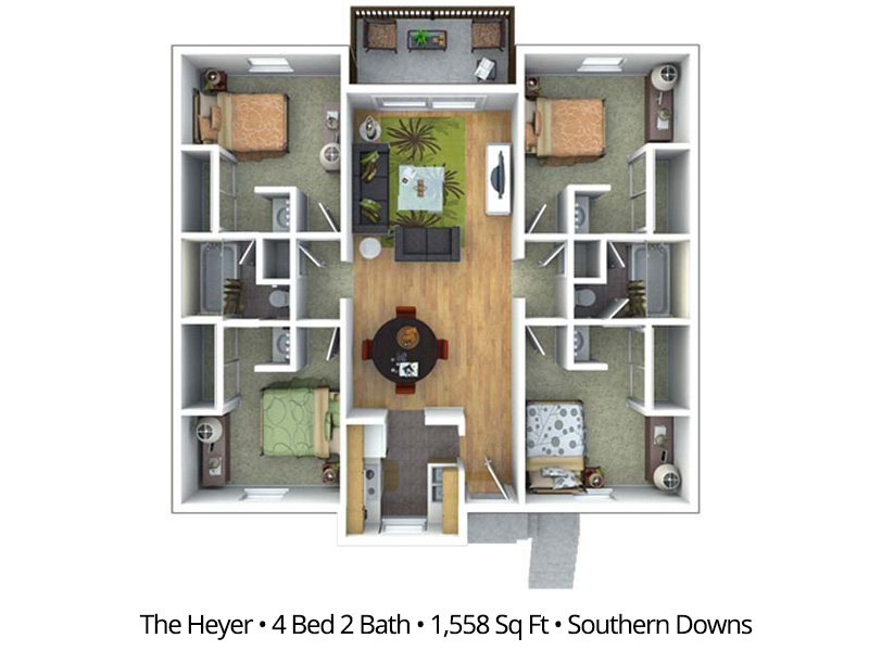 The Heyer (BTB) - 4 Bedroom / 2 Bathroom Image