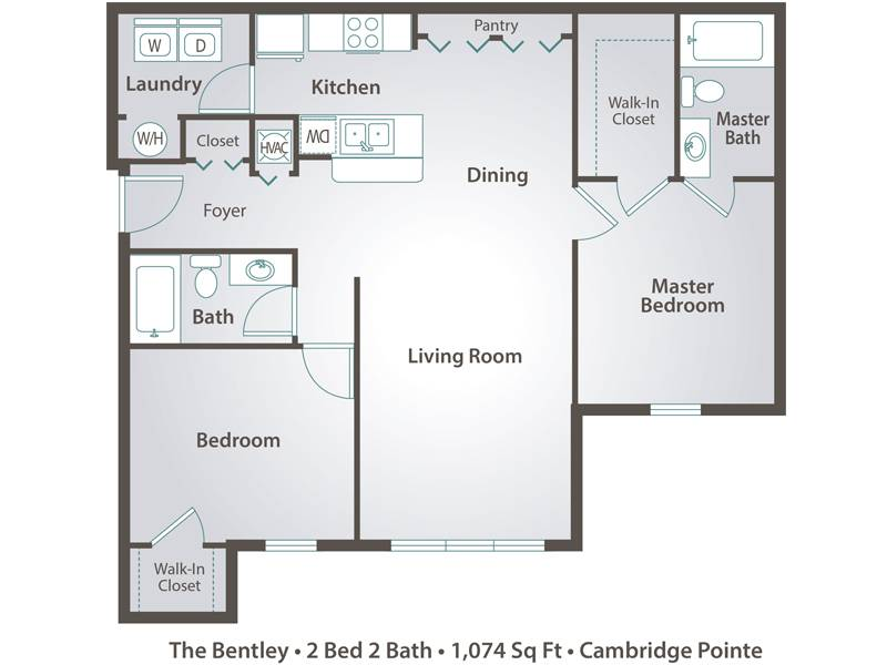 The Bentley - 2 Bedroom / 2 Bathroom Image
