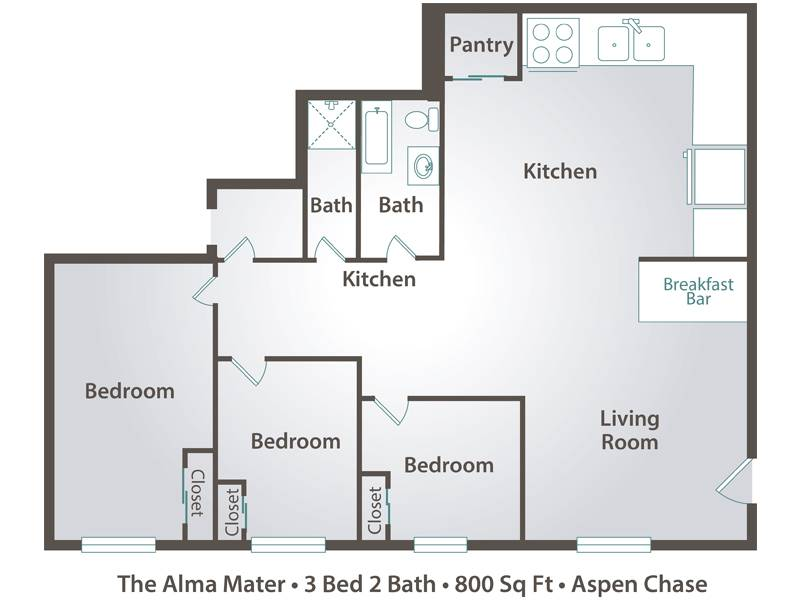 The Alma Mater - 3 Bedroom / 1.5 Bathroom Image