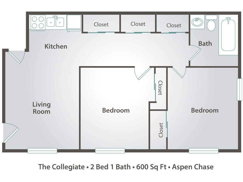The Collegiate - 2 Bedroom / 1 Bathroom Image