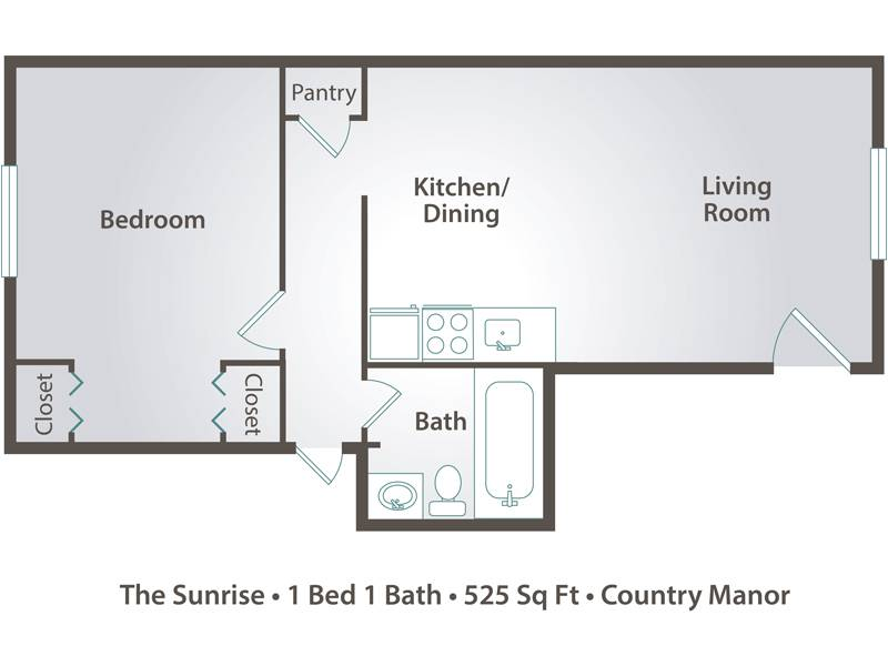 The Sunrise - 1 Bedroom / 1 Bathroom Image
