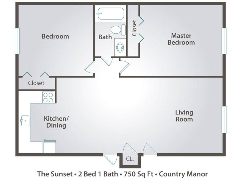 The Sunset - 2 Bedroom / 1 Bathroom Image