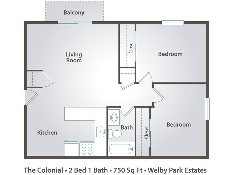 The Colonial - 2 Bedroom / 1 Bathroom Image