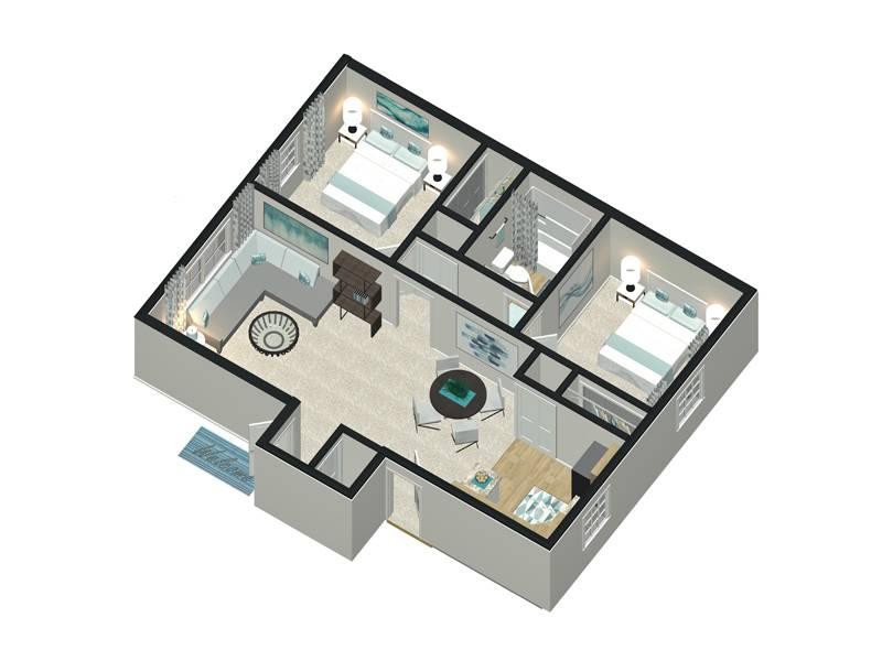 Corporate Floor Plan - 2 Bedroom / 1 Bathroom Image