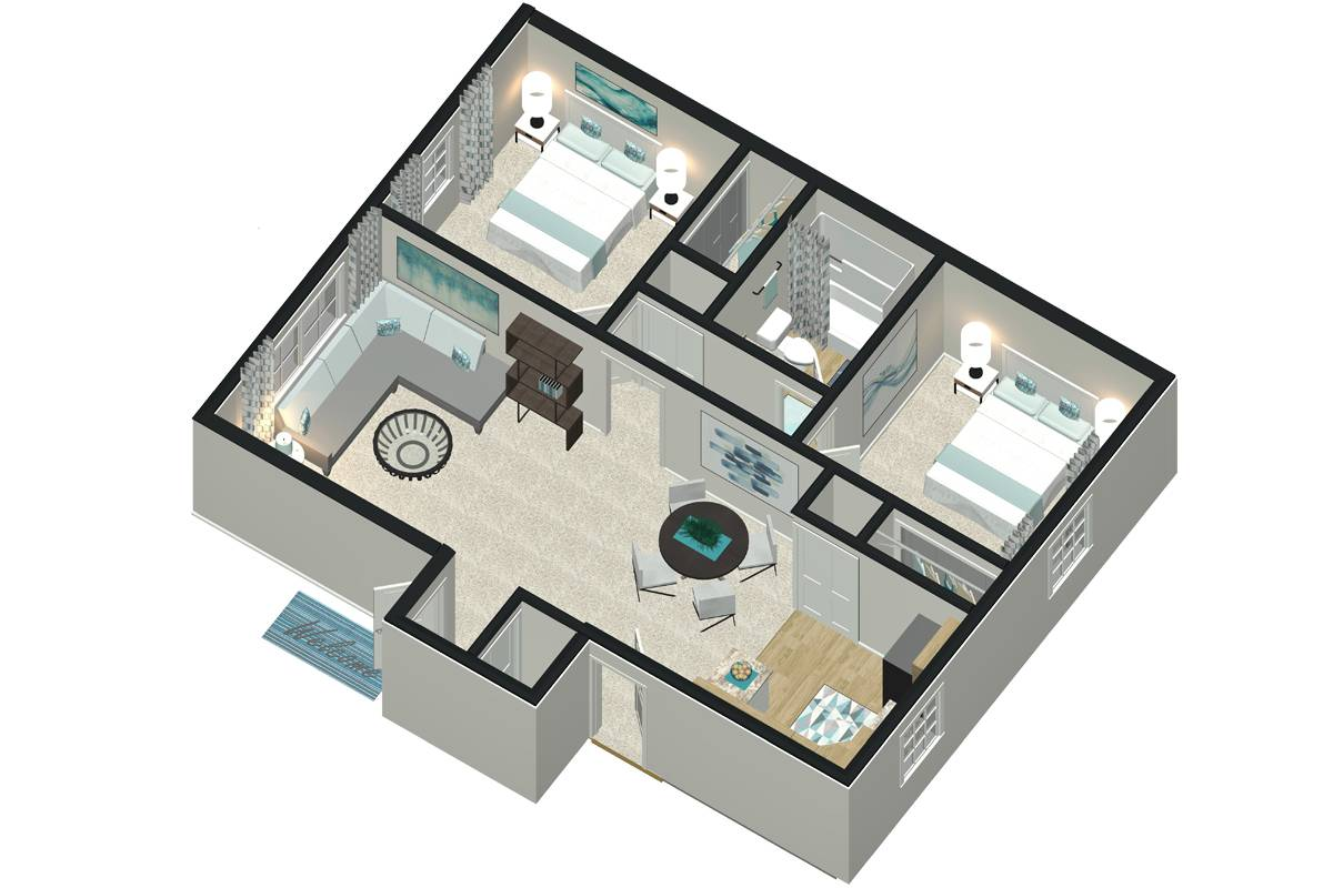 Corporate Floor Plan - 2 Bedroom / 1 Bathroom Image