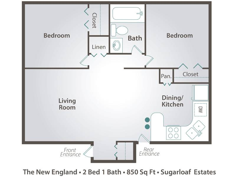 The New England - 2 Bedroom / 1 Bathroom Image