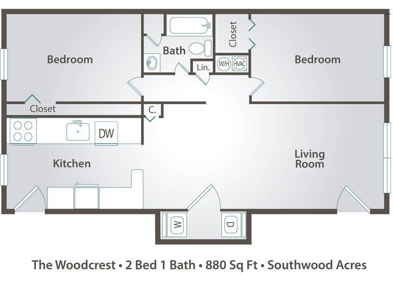 The Woodcrest - 2 Bedroom / 1 Bathroom Image