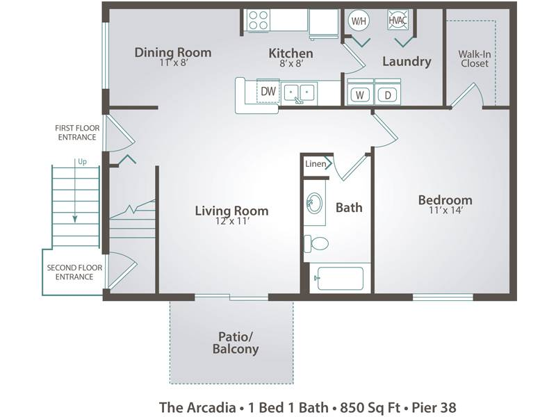 The Arcadia - 1 Bedroom / 1 Bathroom Image