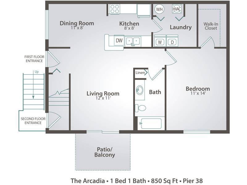 The Arcadia - 1 Bedroom / 1 Bathroom Image