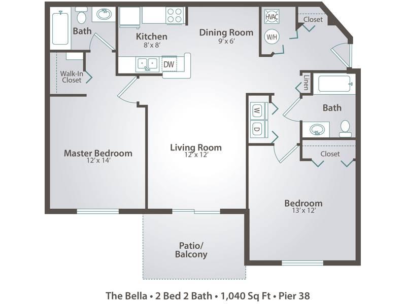The Bella - 2 Bedroom / 2 Bathroom Image