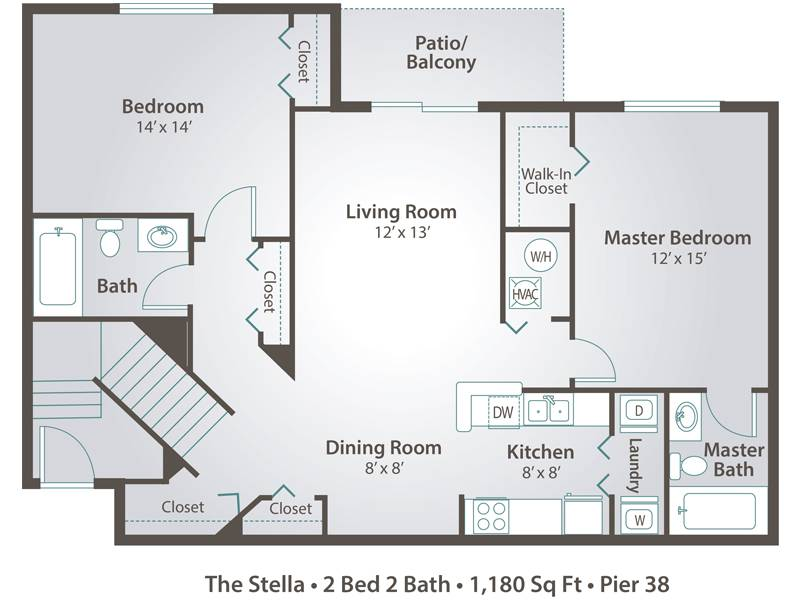 The Stella - 2 Bedroom / 2 Bathroom Image