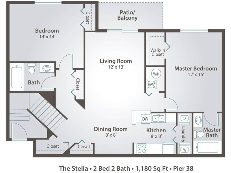 The Stella - 2 Bedroom / 2 Bathroom Image