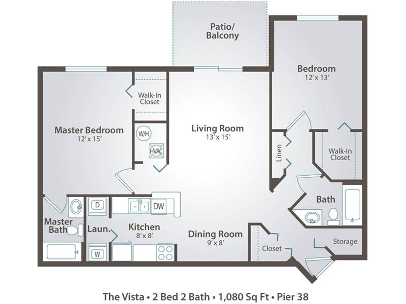 The Vista - 2 Bedroom / 2 Bathroom Image