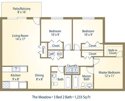 the meadow 3 bedroom 2 bathroom image