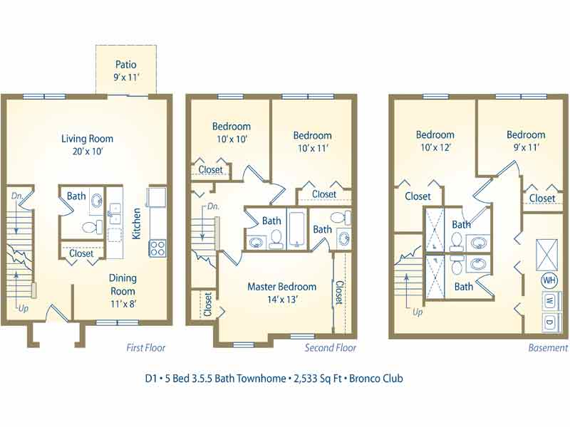 d1 5 bedroom townhome by the bed 5 bedroom 3 bathroom image