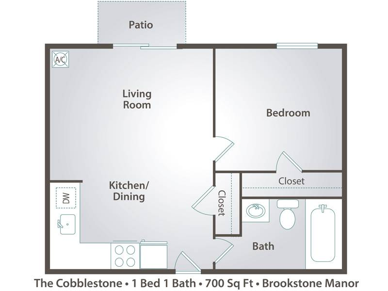 The Cobblestone - 1 Bedroom / 1 Bathroom Image