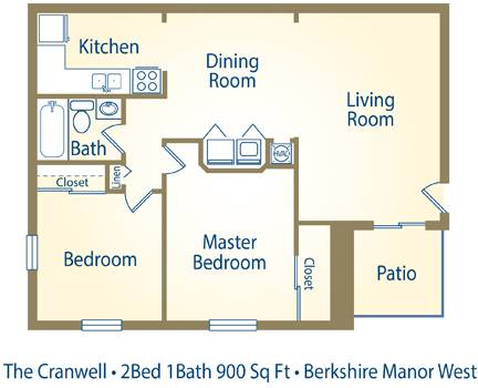 The Cranwell (By the Bed) - 2 Bedroom / 1 Bathroom Image