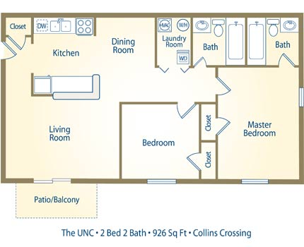 The UNC - 2 Bedroom / 2 Bathroom Image