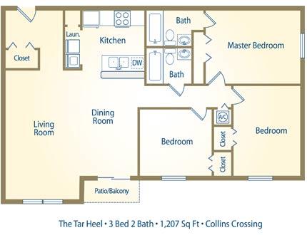 The Tar Heel - 3 Bedroom / 2 Bathroom Image
