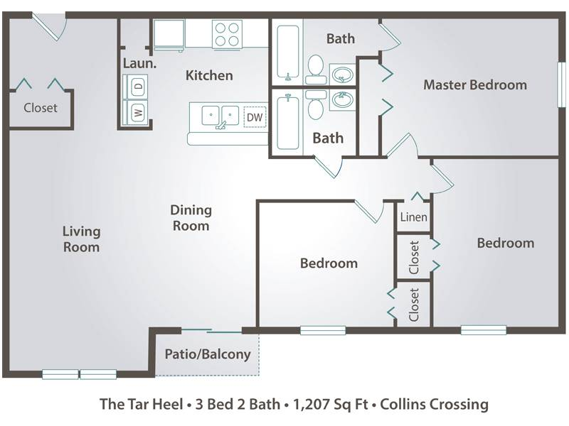 The Tar Heel - 3 Bedroom / 2 Bathroom Image