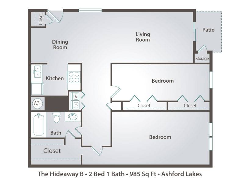 The Hideaway B - 2 Bedroom / 1 Bathroom Image