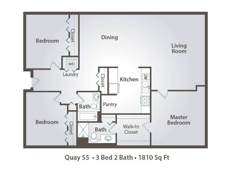 3x2 - 3 Bedroom / 2 Bathroom Image
