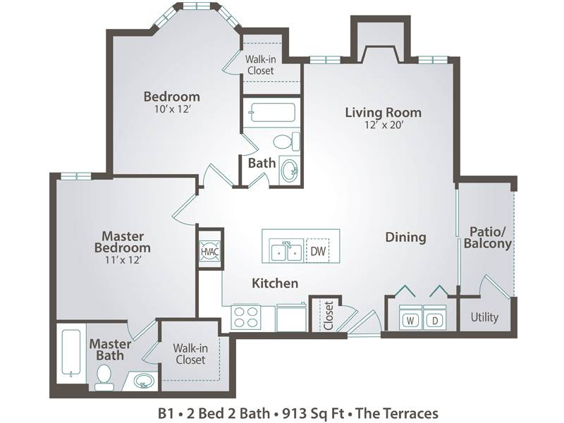 B1 - 2 Bedroom / 2 Bathroom Image