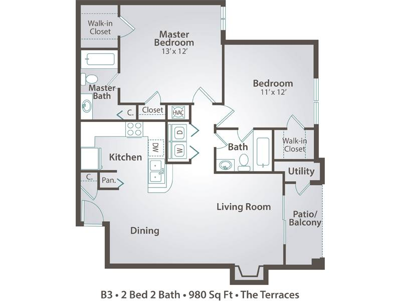 B3 - 2 Bedroom / 2 Bathroom Image